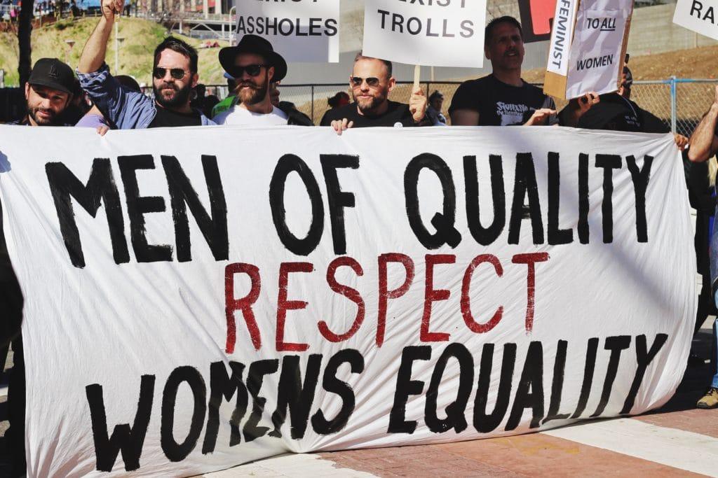 men protest in favor of gender equality